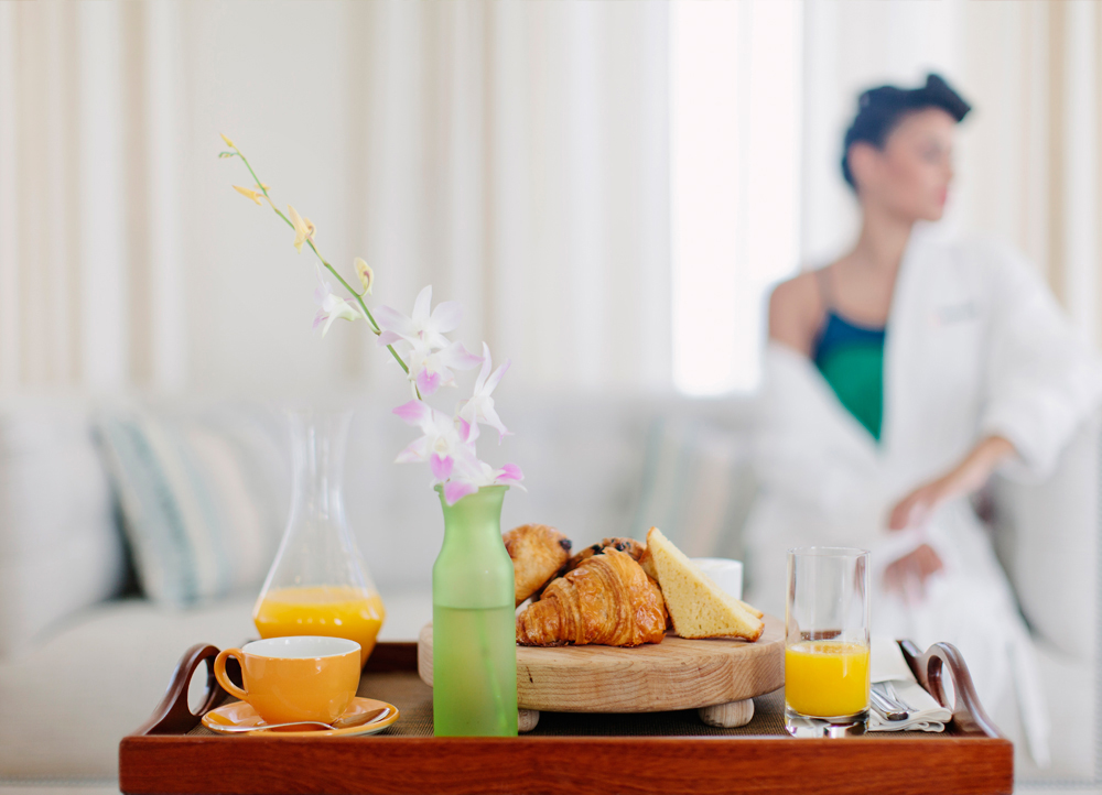 In-Room Dining, Croissants and Orange Juice