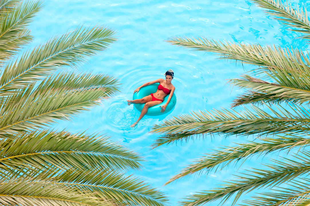 Guest Floating in the Pool
