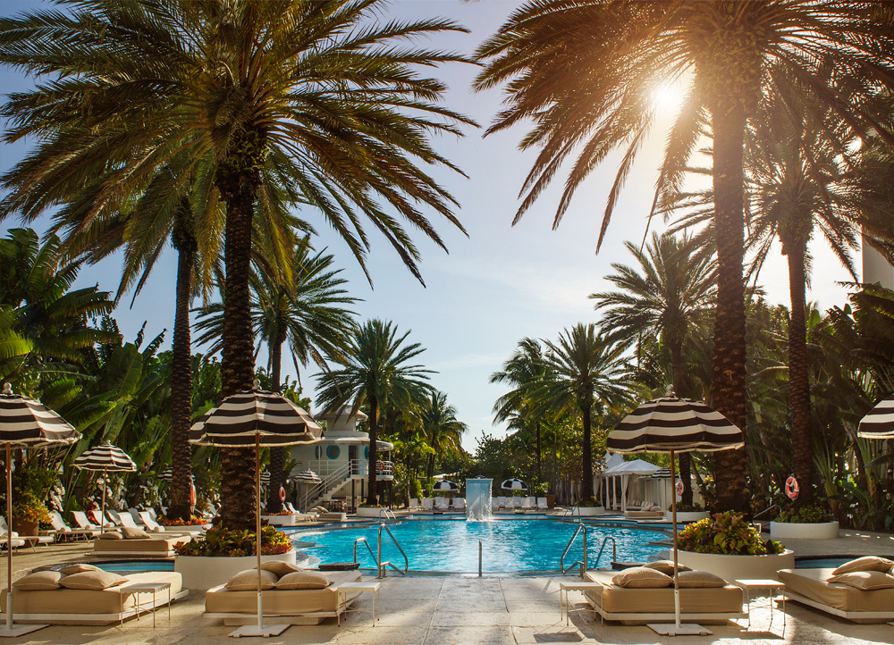 Palm Fronds, Striped Umbrellas and the Pool